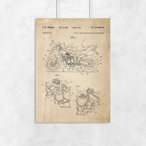 Plakat w stylu retro z rysunkiem patentowym na motocykl