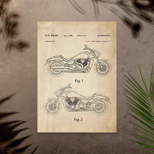Plakat w stylu vintage z projektem motocykla z 2006r.