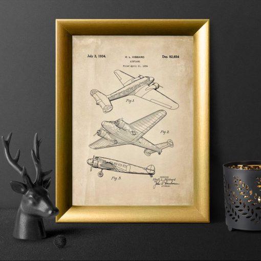 Plakat z aeroplanem - patent 1934r.