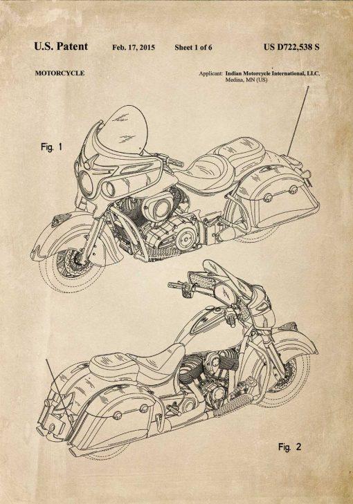 Plakat z amerykańskim motocyklem z 2015r.
