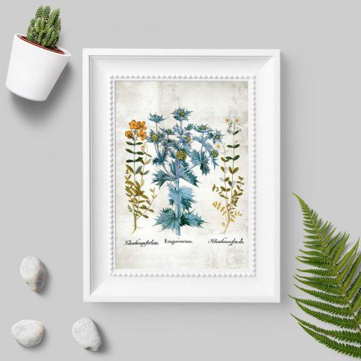 Plakat z drobnymi kwiatuszkami i listkami