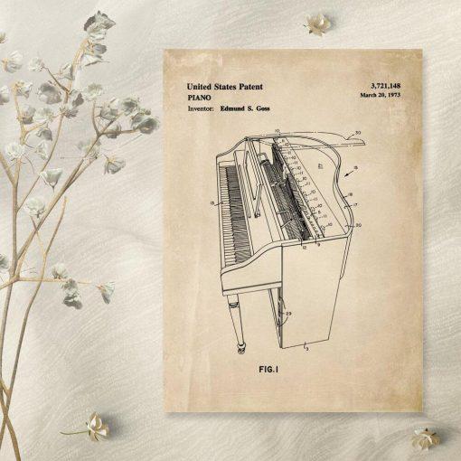 Plakat z fortepianem - patent z 1973r.