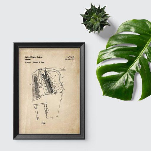 Plakat z instrumentem muzycznym - schemat budowy