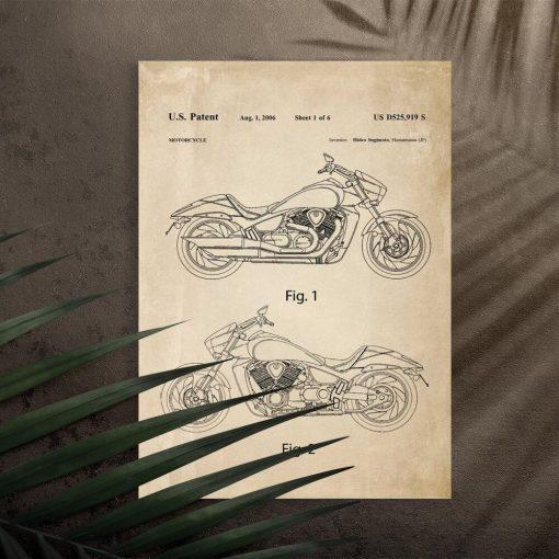 Plakat z koncepcją budowy motocykla