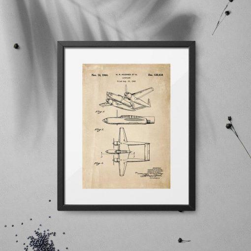 Plakat z konstrukcją samolotu z 1943r. - patent