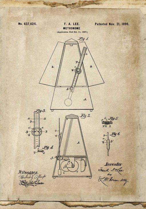 Plakat z metronomem - patent z 1899r.