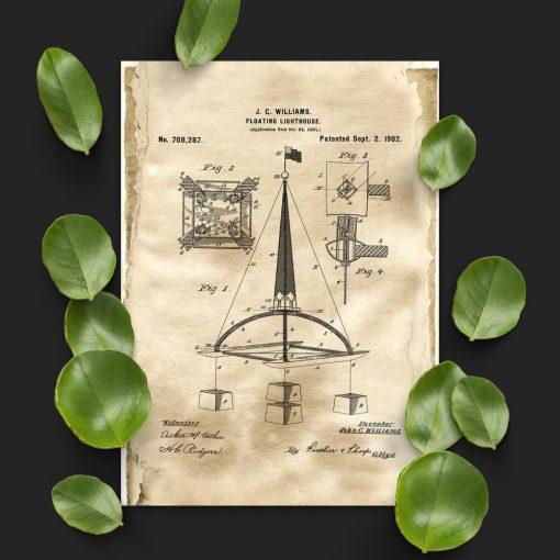 Plakat z patentem na budowę boi morskiej