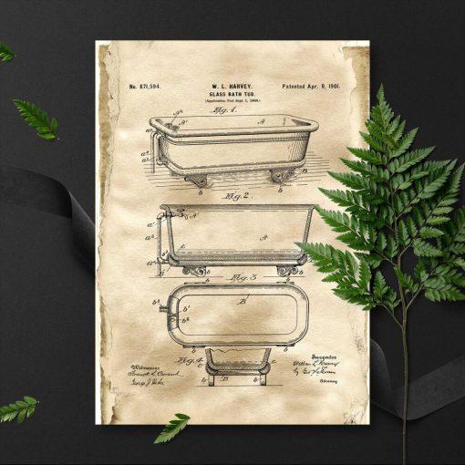 Plakat z patentem na budowę szklanej wanny z 1901r.