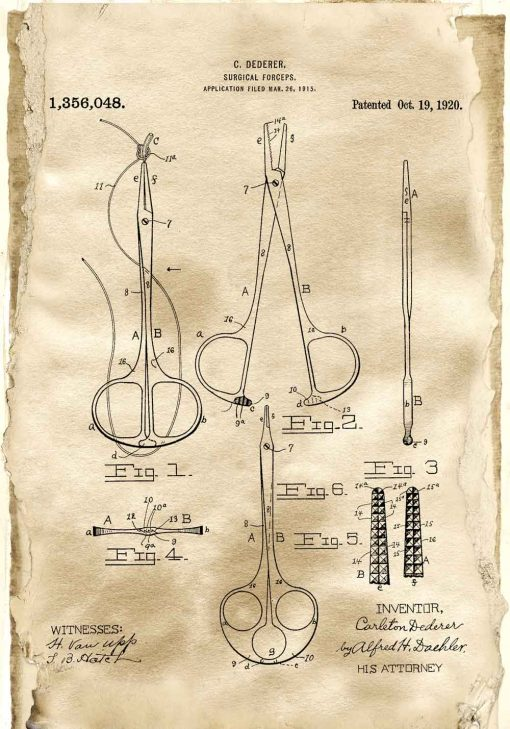 Plakat z patentem na chirurgiczne narzędzia dla studenta