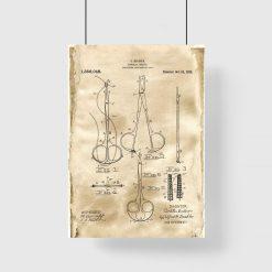 Plakat z patentem na chirurgiczne narzędzia do gabinetu lekarskiego