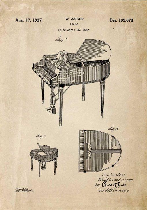 Plakat z patentem na fortepian