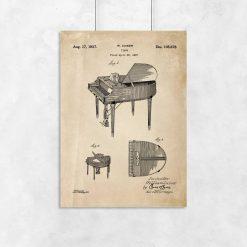 Plakat z patentem na fortepian dla muzyka