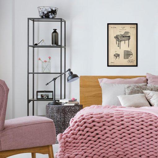 Plakat z patentem na fortepian do sypialni
