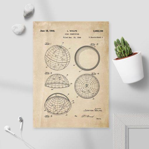 Plakat z patentem na identyfikator gwiazd