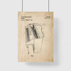 Plakat z patentem na instrument muzyczny - fortepian