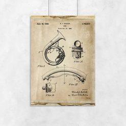 Plakat z patentem na instrument muzyczny z 1930r.