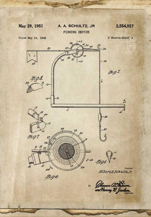 Plakat z patentem na kołowrotek do wędki - 1951r.