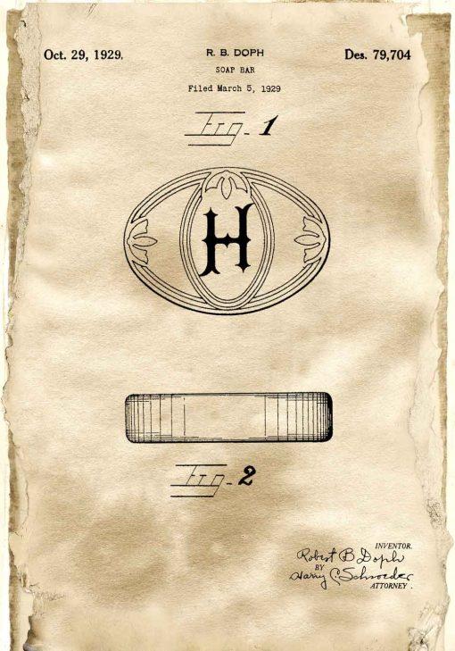 Plakat z patentem na kostkę mydła