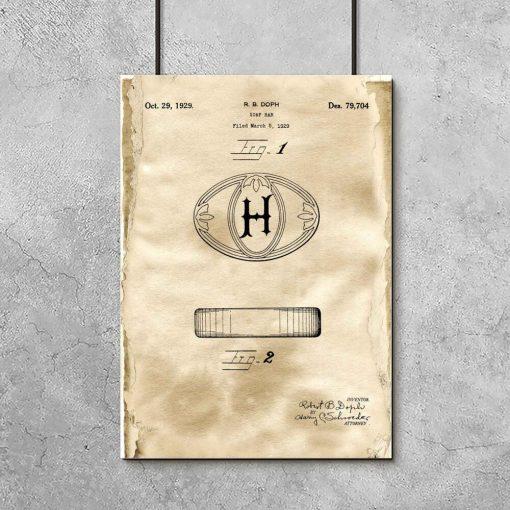 Plakat z patentem na kostkę mydła do łazienki