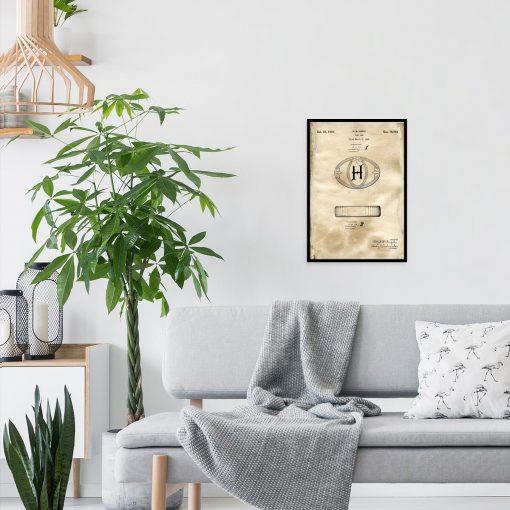 Plakat z patentem na kostkę mydła do pokoju