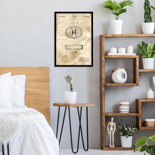 Plakat z patentem na kostkę mydła do sypialni