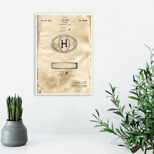 Plakat z patentem na kostkę mydła do toalety