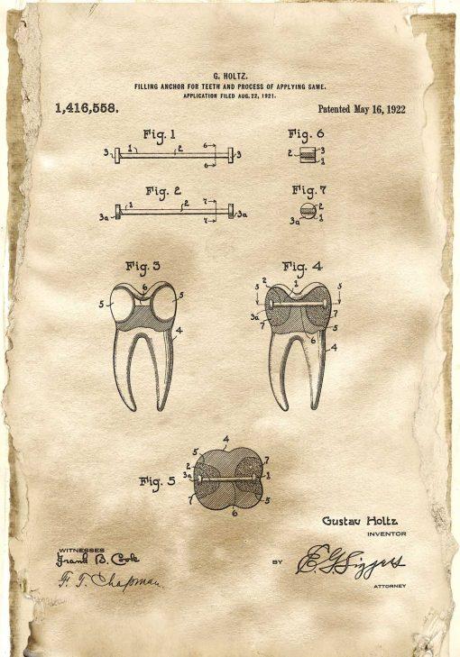 Plakat z patentem na kotwę do zęba - 1922r.