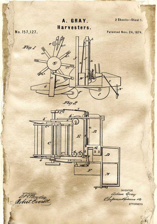 Plakat z patentem na maszynę rolniczą