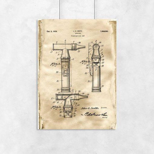 Plakat z patentem na otoskop laryngologiczny dla lekarza
