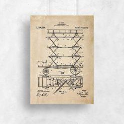Plakat z patentem na pierwszą drabinę do gaszenia pożarów
