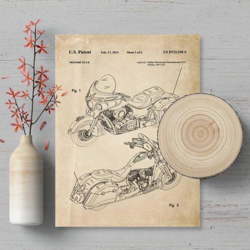 Plakat z patentem na produkcję motocykla