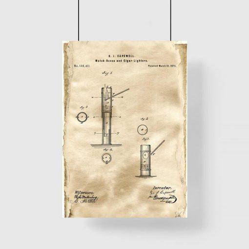 Plakat z patentem na pudełko zapałek do pokoju