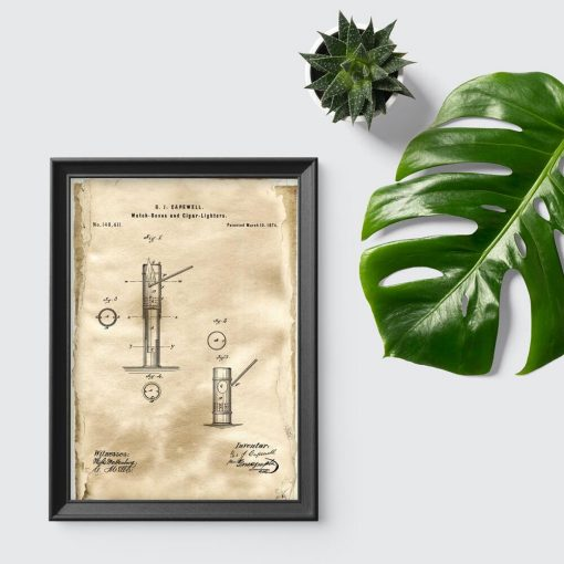 Plakat z patentem na pudełko zapałek do przedpokoju