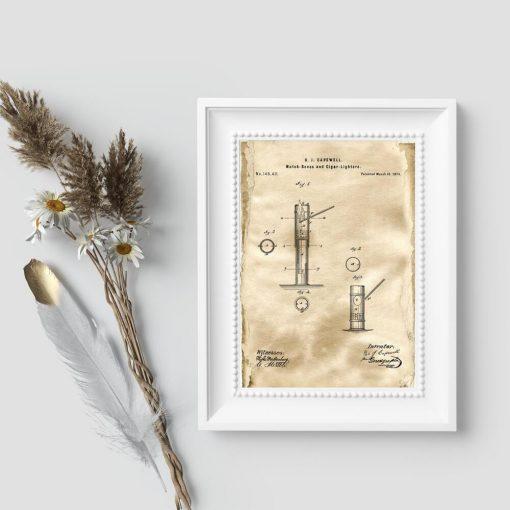 Plakat z patentem na pudełko zapałek na prezent