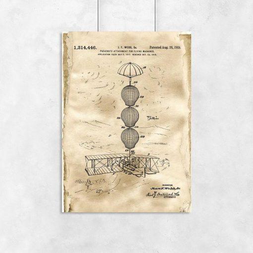 Plakat z patentem na system spadochronowy samolotu do gabinetu