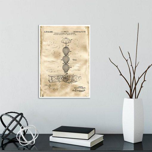 Plakat z patentem na system spadochronowy samolotu do jadalni