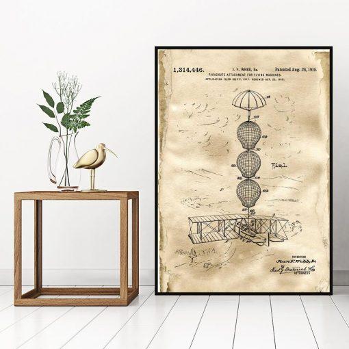 Plakat z patentem na system spadochronowy samolotu do sypialni