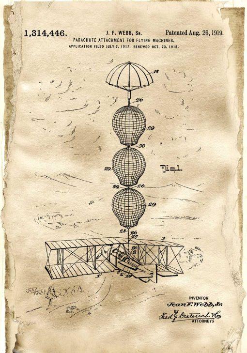Plakat z patentem na system spadochronowy samolotu do szkoły