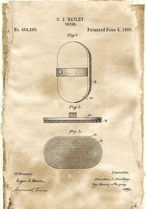 Plakat z patentem na szczotkę do włosów z 1889 roku do szkoły