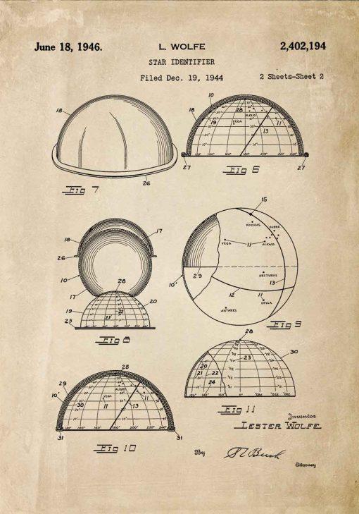 Plakat z patentem na urządzenie do rozpoznawania gwiazd