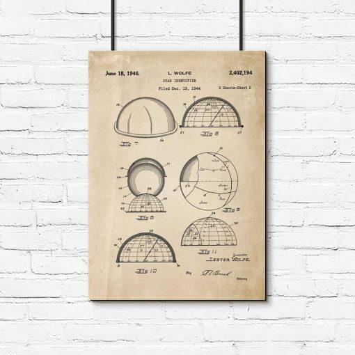 Plakat z patentem na urządzenie do rozpoznawania gwiazd do przedpokoju