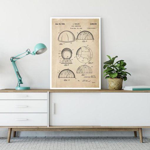 Plakat z patentem na urządzenie do rozpoznawania gwiazd do salonu