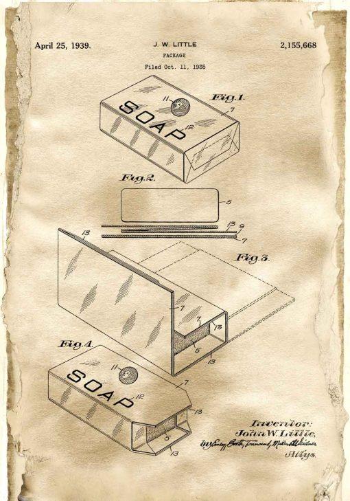 Plakat z patentem - Pudełko na mydło