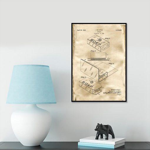 Plakat z patentem - Pudełko na mydło do gabinetu