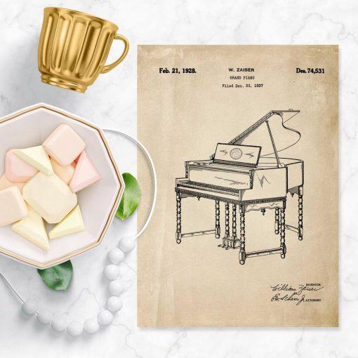 Plakat z patentem - rycina pianina z 1928r.
