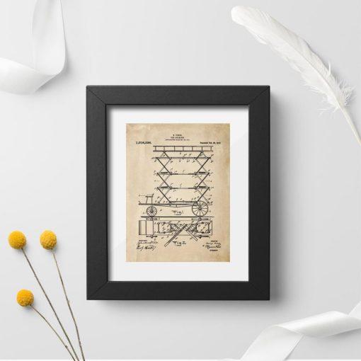 Plakat z patentem z 1912r. drabina rozkładana