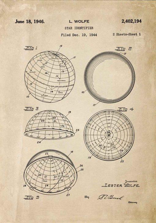 Plakat z patentem z 1946r. - identyfikator gwiazd