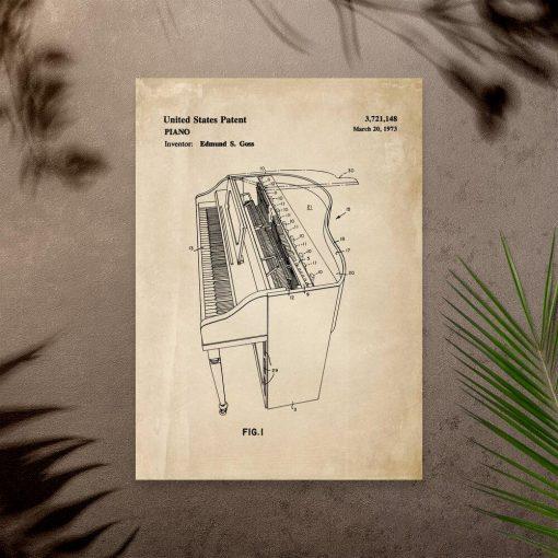 Plakat z pianinem - patent na produkcję