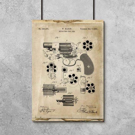 Plakat z rewolwerem do pokoju
