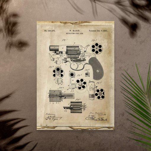 Plakat z rewolwerem na prezent
